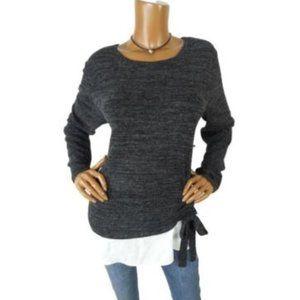 INC Women's Top XL NWT $69 Black/Gray Knit Shirt